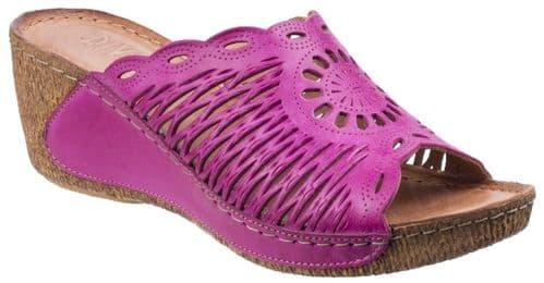 Riva Reggio Leather Sandal Ladies Summer Fuchsia